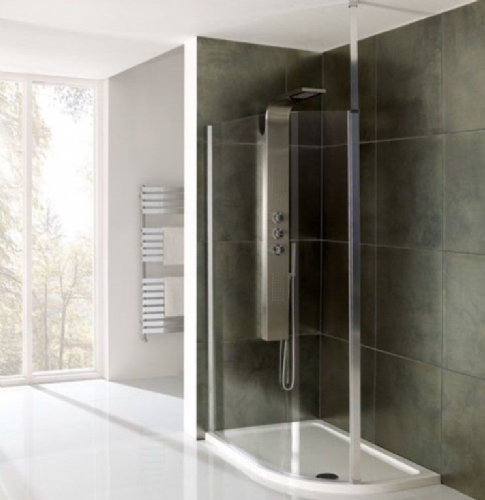 Valliant Square Pole Walk In, Offset, Wetroom Glass Screen - Various Sizes